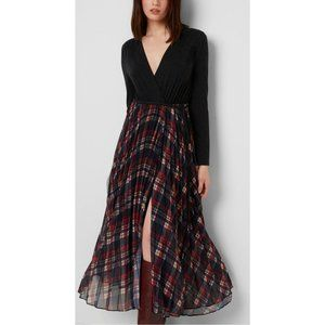 French Connection Armo Mix Jersey Check Wrap Dress